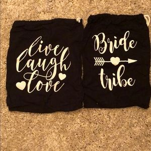 Accessories - 2 dust bags never used bride tribe live love laugh